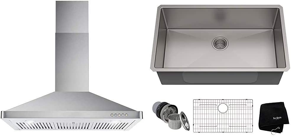 Cosmo 63190 36 in. Wall Mount Range Hood with Ductless Convertible Duct, Stainless Steel & Kraus Standart PRO 32-inch 16 Gauge Undermount Single Bowl Stainless Steel Kitchen Sink, KHU100-32