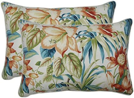 Pillow Perfect Outdoor Indoor Botanical Glow Tiger Lily Oversized Lumbar Pillows, 24.5 x 16.5 , Floral, 2 Pack
