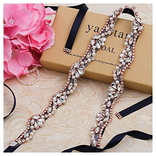 Yanstar Hand Rose Gold Rhinestone Pearls Wedding Bridal Belts Sashes Wirh Black Ribbon For Bridal Bridesmaid Gowns (Hand Beaded Formal Dress)