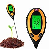 Lastnight Garden PH Soil Meter 4in1 LCD Digital Lawn Temperature Sunlight Tester Tool