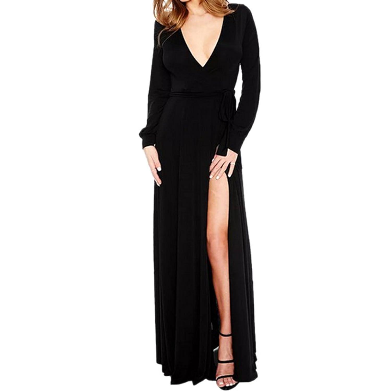 RedExtend Deep V Neck Side Split Longsleeve Party Robe Nightclubs Dress