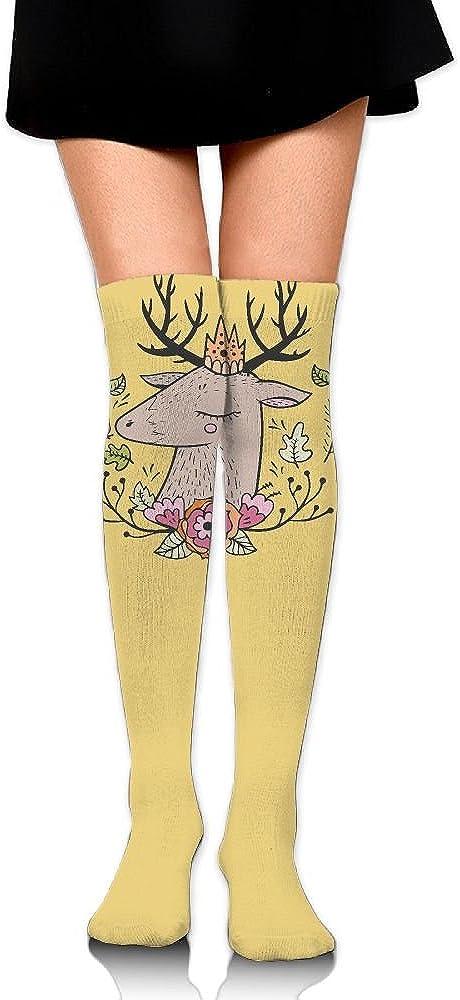Womens//Girls Animals With Crowns Art1 Casual Socks Yoga Socks Over The Knee High Socks 23.6