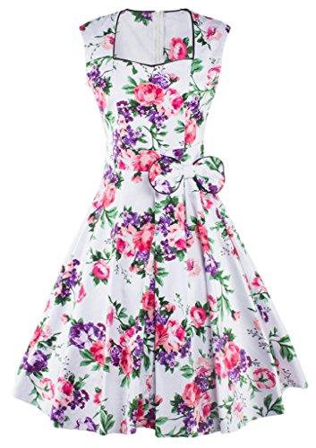 Vestito Purple partito XL maniche Rockabilly YACUN stile delle senza donne stampa di 1950 Vintage swing con floreale AgqwT6pf