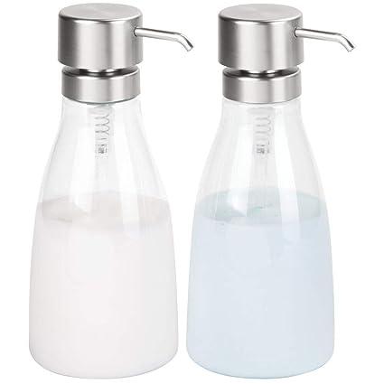 mDesign Juego de 2 dosificadores de jabón líquido en plástico – Dispensador de jabón líquido Grande rellenable – Dispensador de champú, acondicionador ...