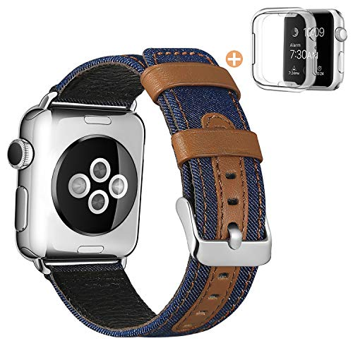 (SKYLET Band Compatible with Apple Watch 38mm 42mm 44mm 40mm, Canvas Fabric Genuine Leather Straps with Metal Clasp Compatible with Apple Watch Series 4 Series 2 Series 1 Series 3 Men Women(No Tracker))
