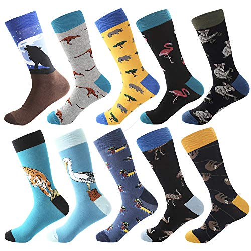 Bonangel Men's Fun Dress Socks - Colorful Funny Novelty Crazy Crew Socks Packs with Cool Argyle Pattern (Wolf 2) ()