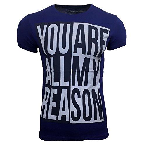 AVRONI Herren Kurzarm Rundhals T-Shirt SR-606 Schwarz/Grau/Weiß/Blau Gr M L XL, Größe:L, Farbe:Marine
