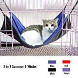 Doglemi Cat Pet Cage Hammock Soft Cat Bed Cage Cat Pad Reversible Two Sides Cat Hammock Size L Blue