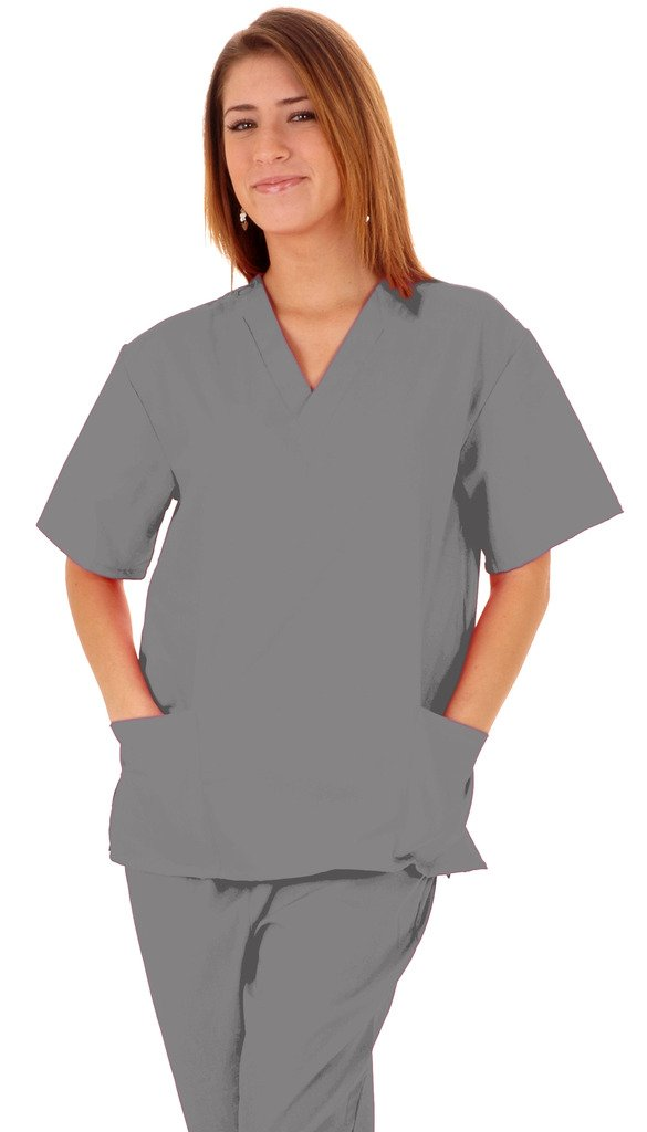 M&M SCRUBS Women Scrub Set Medical Scrub Top and Pants L Grey