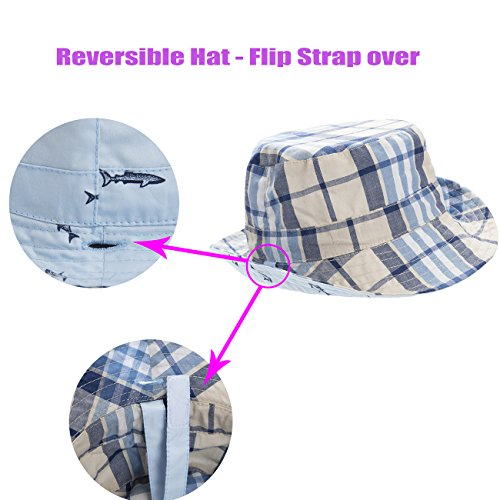 eb8096fadb2 Eriso Baby Toddler Plaid Bucket Reversible Sun Protection Animal Hat ...