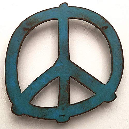 Pictures Peace Symbols - Metal Peace sign metal wall art 7.5x7.5 or 12x12 or 17x17 or 24x24 inch tall - Handmade - Choose your Patina Color and Size
