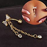 HuntGold 1X Hot Shining Jewelry Bow Diamond Navel Ring Belly Ring Dangle Body Piercing(white)