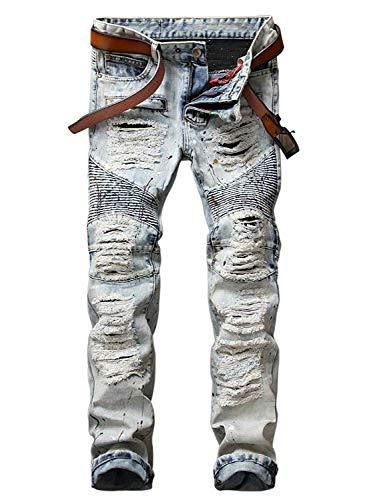 Uomo Pantaloni Da Colour Jeans Dritta Vintage Moderna Moto Fit Gamba Slim Strappati Casual Motociclista aSww7xHn