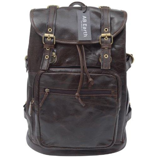 AB Earth Genuine Leather Chocolate Hiking Backpack