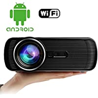 FastFox Android WIFI HD Projector 800 Lumen 800x480 Home Theater Cinema Keystone for Video Game Movie Black Color