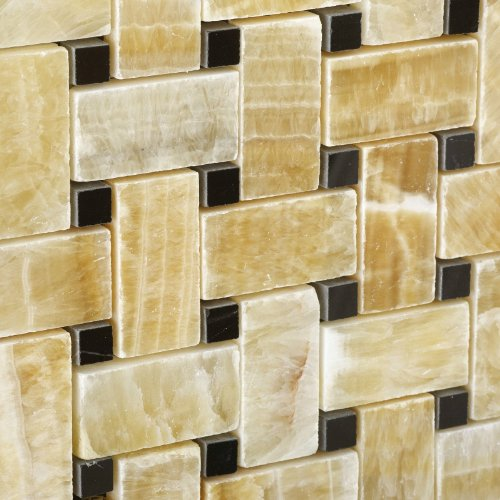 Honey Onyx Polished Basketweave Mosaic Tile w/ Black Dots - Lot of 50 sq. ft. by Oracle Tile & Stone (Image #2)