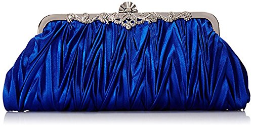 Yonger Womens Vintage Satin Cocktail Party Handbag Wedding Bag Shoulder Chain-blue