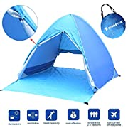 Kingstar Portable Pop Up Beach Tent,UV 2-3 Person Folding Sun Shelters Waterproof Automatic Instant Family Backpacking Hiking Camping Tent Outdoor Canopy Cabana Tents with Carry Bag(Blue)