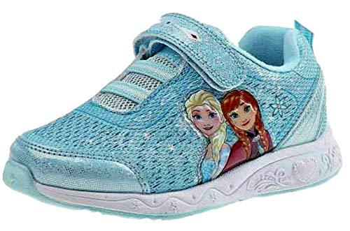 Disney Frozen Anna Elsa Girls Light Up Sneaker Shoes Toddler/Little Kid Blue (7 M US Toddler) -