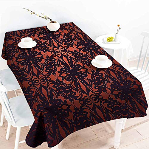 Homrkey Fabric Dust-Proof Table Cover Victorian Medieval Ancient Flowers with Leaves Ombre Design Image Artwork Print Salmon Plum Black Easy to Clean W54 xL84