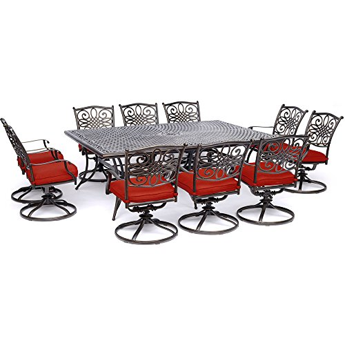 Hanover TRADDN11PCSW10-RED Ten Swivel Rockers and an Extra-Long Table 11 Piece Dining Set, Red (Long Extra Dining 10 Seats Table)