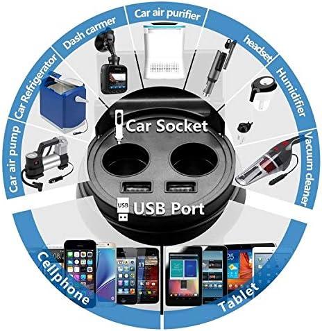 Techmax/® Dashcam con 2 Porte USB e 2 Prese accendisigari Samsung Portabicchieri per Auto GPS Android per iPhone iPad