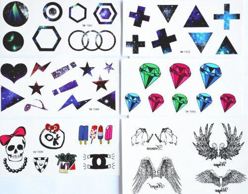 Combineshopping latest hot selling fashion design waterproof non-toxi temporary tattoo stickers combination 5pcs/package different designs, it includes different shapes/cross/triangel/star/heart/diamond/skull/ice cream/angel (Where To Buy Angel Wings)