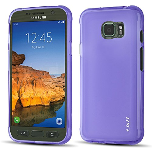 J&D Case Compatible for Galaxy S7 Active Case, [Drop Protection] [Slim Cushion] Shockproof Protective TPU Slim Case for Samsung Galaxy S7 Active Bumper Case - [Not for Galaxy S7 / S7 Edge] - Purple