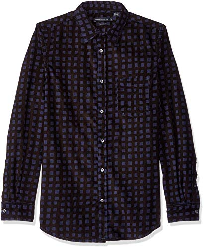 (French Connection Men's Long Sleeve Corduroy Button Down Shirt, Fathom Blue,)