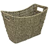 JVL Seagrass Newspaper Magazine Storage Rack, Wicker Brown