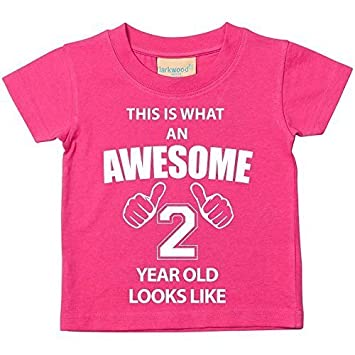 390c94b94f3b8 This is What An Awesome 2 Year Old Looks Like Pink Tshirt 2nd Birthday Baby  Toddler Kids Available in Sizes 0-6 Months t