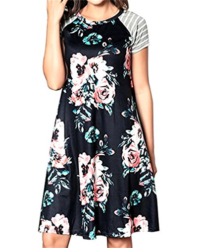Domple Femmes Manches Courtes Quart De Travail Floral Plage Swing Couture Fête Mini-robe Noire