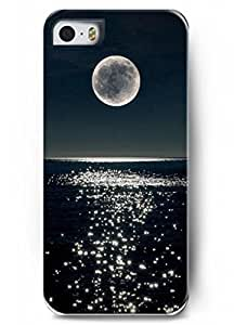 Iphone 5 Case Iphone 5S Case OUO Hard Plastic Pattern Printed with Design Beautiful Scene of Moon Inverted Image At Night