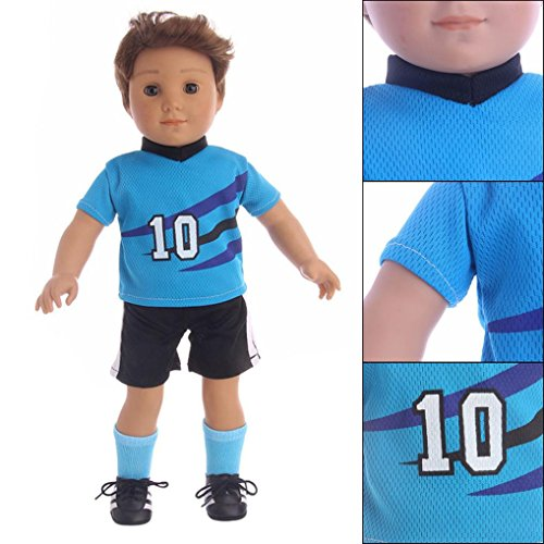 Football American Accessories (Unpara Worldcup Outfits For 18 inch Our Generation American Boy Doll for Football Sports Clothes for The Best Gift (2))