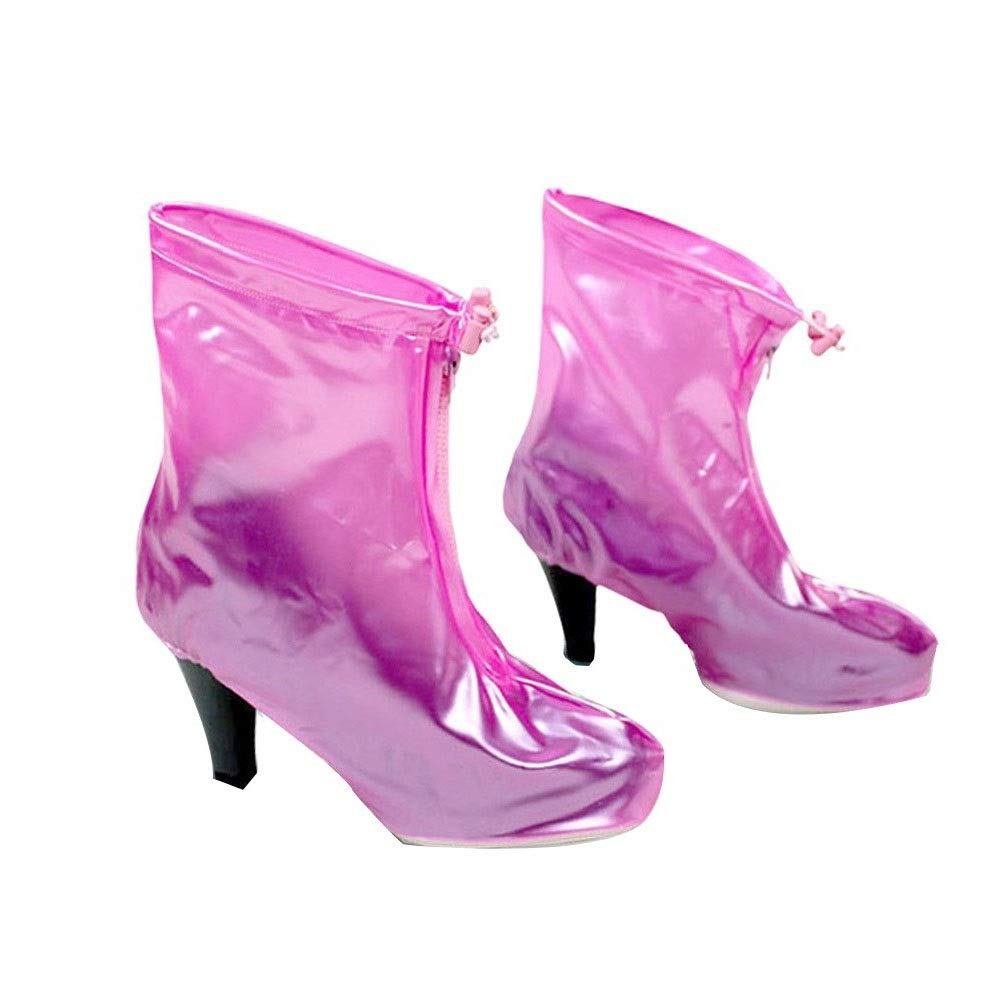AGFXN 7 Pairs Ms. High Heel Rainproof Shoe Cover Thick Reusable Environmental Protection Anti-mud Non-Slip Outdoor Fishing Easy to Carry,3 Sizes (Color : Pink, Size : M) by AGFXN-Waterproof Shoe Cover
