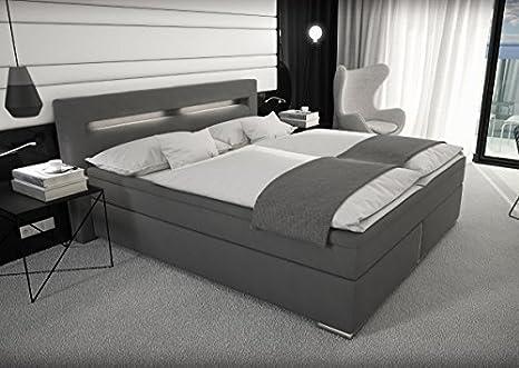 Supply24 Designer Stoff Boxspring Bett Mit Led Beleuchtung 180x200