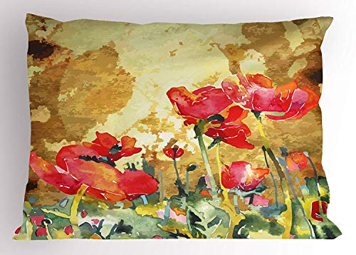 Tigeaslg Floral Pillow Sham, Nature Beauty Inspired Watercolor Poppy Petals Meadow Art Print, Decorative Standard Queen Size Printed Pillowcase, 30 X 20 inches, Light Coffee Red Hunter Green (Hunter Settee)