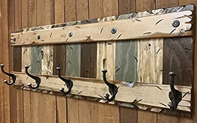 """COATRACK with 5 metal hooks 44"""" RUSTIC Coat Rack BLUE BROWN COMBO Cabin Wall Home Hallway Entryway Decor Antique White Cream"""