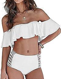 Women's Sexy Off Shoulder Ruffle Swimsuit Two Piece High Waist Bikini Set Swimwear