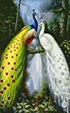 Qihu's 5d Crystal Diamond Painting DIY Counted Paint By Number Kits, Animal Green Forest Peacock Peafowl Bird Juno Picture