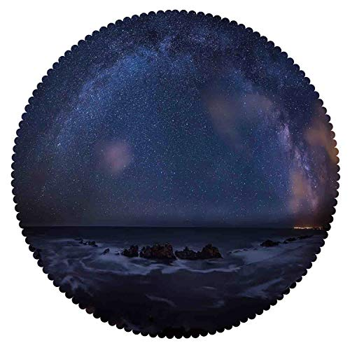 iPrint Beautiful Round Tablecloth [ Space,Massive Milky Way Over The Sea Appears to Be a Dark Matter Halo Spread Out in Solar Center,Blue ] Fabric Home Set by iPrint