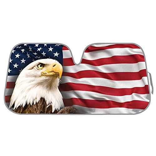 (BDK A764 USA Eagle Flag Auto Sun Shade for Car SUV Truck - Stars & Stripes - Bubble Foil Jumbo Folding Accordion for Windshield)