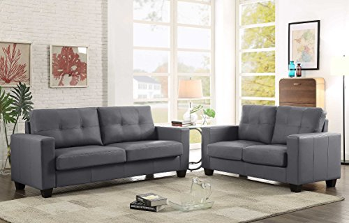 GTU Furniture 2Pc Contemporary Modern Pu-Leather Sofa and Loveseat Living Room Set (GREY)