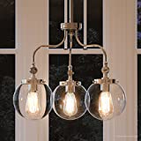 Luxury Vintage Chandelier, Medium Size: 17.75'H x 22'W, with Industrial Chic Style Elements, Polished Nickel Finish and Clear Shade, UHP2646 from The Glasgow Collection by Urban Ambiance