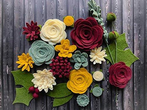 Wool Felt Flowers - Victorian Christmas Flowers - 19 Flowers & 24 leaves - DIY Christmas Wreaths, Garlands, Headbands