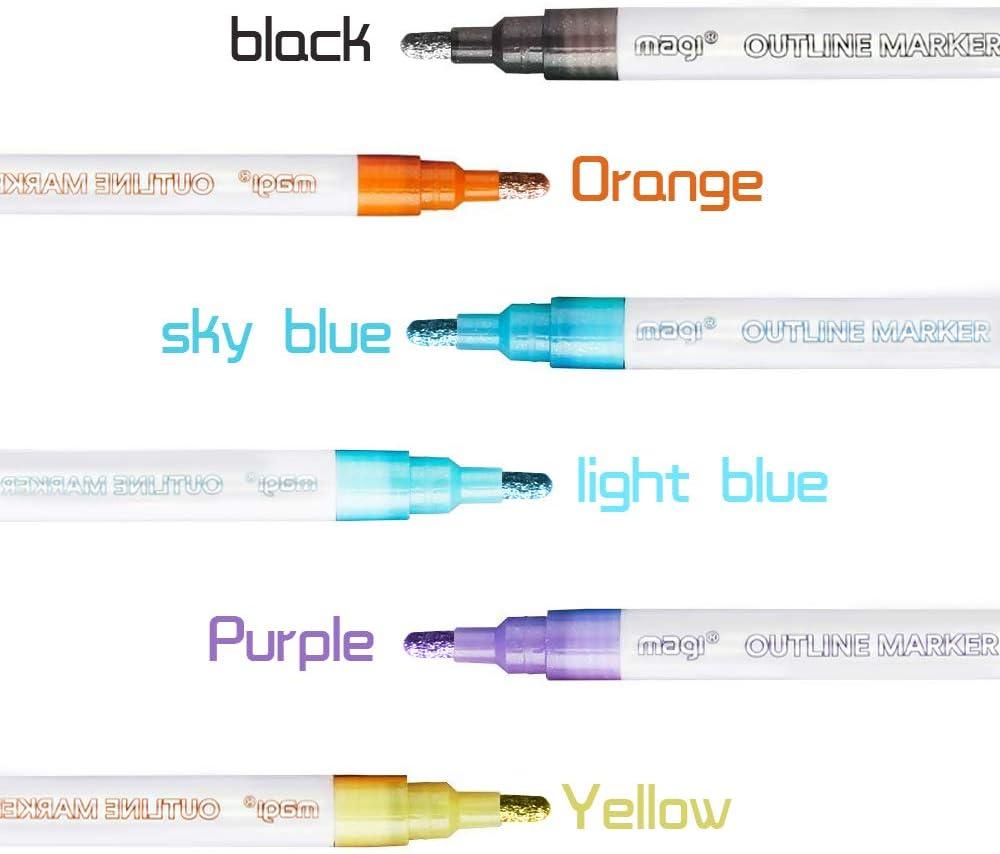 Outline Marker Double Line Pen 8 Colors Fluorescent Glitter Highlight Marker Pen Outline Pens for Illustration Coloring Sketching Birthday Greeting Gift Card Making 8colors, Outline Pen