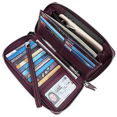 - Lavemi Women's RFID Blocking Real Leather Zip Around Wallet Clutch Large Travel Purse Wristlet(Large Size Vintage Purple)