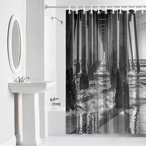Shower Curtain Waterproof Home Decor,Durable Cloth Fabric Decorative Bathroom Accessories with Hooks,Under The Pier Bridge Black and White 36 x 72 Inches ()
