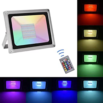 Sararoom 100W Focos Led exterior,IP65 RGB Foco LED,16 Colores ...