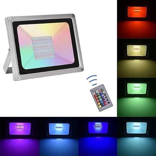Sararoom 100W Focos Led exterior,IP65 RGB Foco LED,16 Colores Proyector LED,4 Modos,Con control remoto,para Jardín,bodas,Fiestas ...